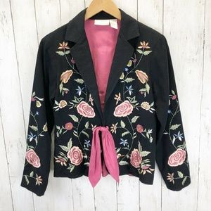 *Soft Surroundings Embroidered Blazer Jacket XS